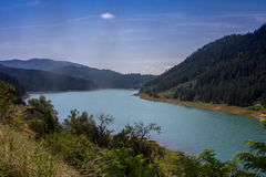 River Drina. View of river Drina from the monutain top of Tara, Serbia stock image