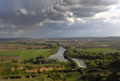River Duero in its passage through Toro, Zamora,. Spain stock image