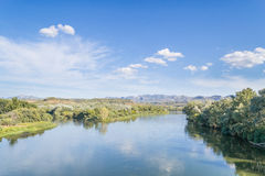 River Ebre. Ebre - is the famouse river in Catalonia which mets the sea stock image