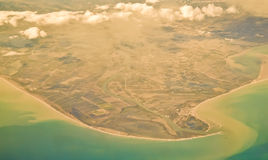 River Ebro delta - aerial view. Spanish river Ebro estuary near Tarragona. Cabo de Tortosa royalty free stock photography