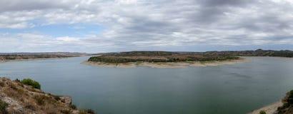 The river Ebro. On its way through Caspe, Aragon stock photography