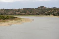 The river Ebro. On its way through Caspe, Aragon stock photo