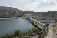 The river Ebro. On its way through Mequinenza, Aragon stock photo