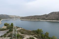 The river Ebro. On its way through Mequinenza, Aragon royalty free stock photo