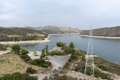 The river Ebro. On its way through Mequinenza, Aragon stock photos