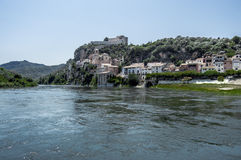 The river Ebro with the people of miravet stock image
