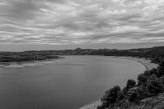 The river Ebro. On its way through Caspe, Aragon stock image