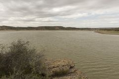 The river Ebro. On its way through Caspe, Aragon royalty free stock images