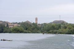 The river Ebro. On its way through Escatron, Aragon stock photography