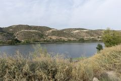 The river Ebro. On its way through Mequinenza, Aragon royalty free stock photography