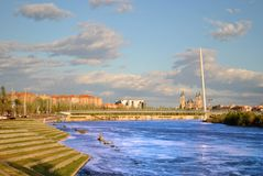 The river Ebro in Saragossa. Image of the river ebro with the Cathedral of the our lady of the pillar at the bottom stock photography