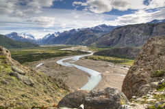 River in El Chalten, Argentina. View over a river in El Chalten, Argentina Royalty Free Stock Photo