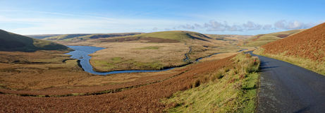 River Elan flowing panorama, Wales UK. Royalty Free Stock Images