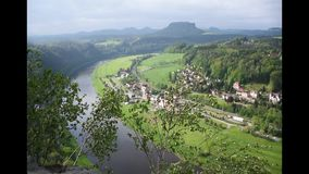 River Elba in Saxon Switzerland top view, near Bastei Bridge. Sachsen, Germany.  stock video