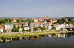 The River Elbe. View of Meissen by the River Elbe Stock Photo