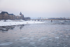 River Elbe. Dresden and the River Elbe in the winter Royalty Free Stock Images