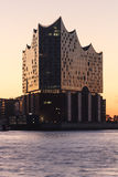 River Elbe and Elbe Philharmonic Hall (Elbphilharmonie) at morning with sunrise in Hamburg Stock Photos
