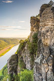 River Elbe in the Elbe Sandstone Mountains Royalty Free Stock Photography