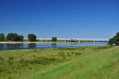 River Elbe, rail bridge. Germany Stock Image