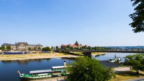 River Elbe and Saxon State Chamber time lapse. Time lapse view over the river Elbe with tourist boats and the Saxon State Chamber palace and the ministry for stock footage