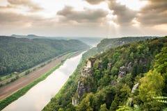 River Elbe in Saxon Switzerland Stock Images
