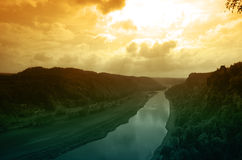 River Elbe on sunset Royalty Free Stock Images