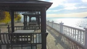River embankment with balustrade. Aero view. River embankment with balustrade copter view stock video footage