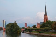 River, embankment and church `Three Kings`. Frankfurt am Main, Germany Stock Photography