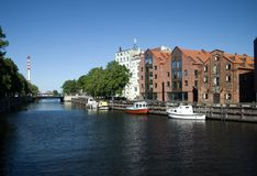 River, embankment in Klaipeda, Lithuania Stock Photography
