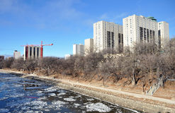River embankment. The photo was taken on the waterfront of the Red River in Winnipeg, Manitoba. Canada. November 2013 stock photography