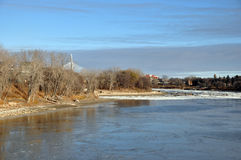 River embankment. The photo was taken on the waterfront of the Red River in Winnipeg, Manitoba. Canada. November 2013 Stock Image