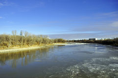 River embankment. The photo was taken on the waterfront of the Red River in Winnipeg, Manitoba. Canada. November 2013 Royalty Free Stock Image