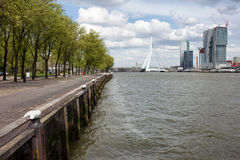 River Embankment in Rotterdam Royalty Free Stock Photos