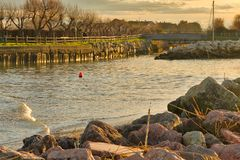 River empties into the Adriatic Sea. In Italy royalty free stock images