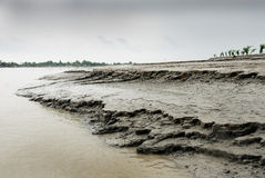 River Erosion. A view of the disastrous embankment due to erosion of the river stock photo