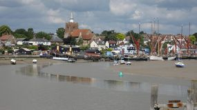 River Estuary at Maldon waiting for the tide on a cloudy summer day royalty free stock photo
