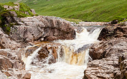 River Etive. Water cascades down the River Etive in Glen Etive in the Scottish highlands Stock Photography