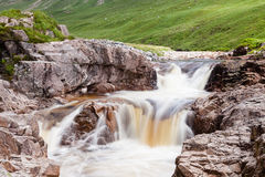 River Etive. Water cascades down the River Etive in Glen Etive in the Scottish highlands Stock Photos