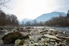 River in europe austria with stones stock image