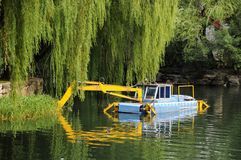 River excavator. Picture of  a parking river excavator at river Royalty Free Stock Photo