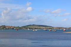 River Exe estuary. Boats on the River Exe from Dawlish Warren Stock Image