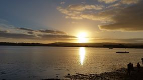 River Exe Estuary Sunset, Topsham Devon. Sun setting over the river Exe estuary, view from Topsham Goat Walk Stock Image