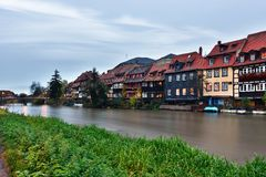 River and  exteriors of houses in Bamberg, Germany. Stock Photography