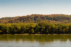River in Fall. A picturesque view of a river and forest in Ohio in fall season Royalty Free Stock Image