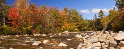 River through fall foliage, Swift River, New Hampshire, USA stock photos