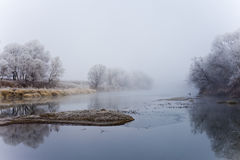 River at fall misty morning Stock Photo