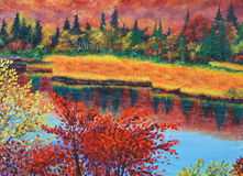 River in fall oil painting on canvas Royalty Free Stock Images