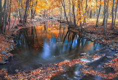 River in Fall with reflections Royalty Free Stock Images