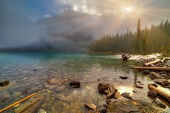 River falling into Moraine lake Royalty Free Stock Photography