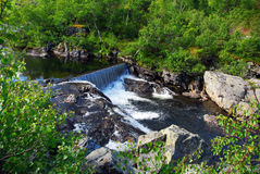 River Falls. River with small water falls that runs through bushes Royalty Free Stock Photography